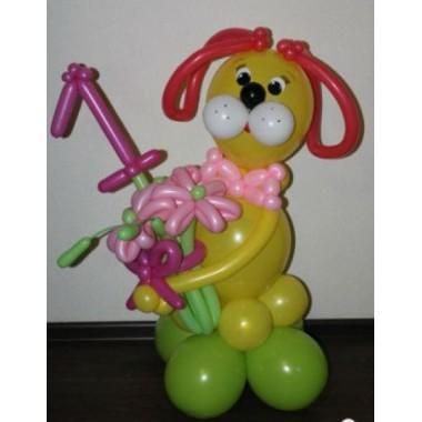 Собачка с букетом и цифрой (предварительный заказ)