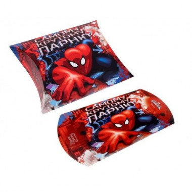 """Коробка-подушка """"Человек-паук. Самому крутому парню"""" 14*14*4см"""
