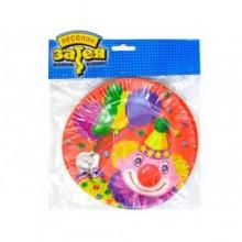"Набор бумажных тарелок ""Клоун с шарами"", 17 см, 6 шт"