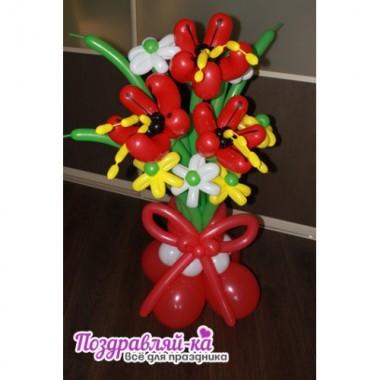 Лилии с ромашками и бантом (предварительный заказ)