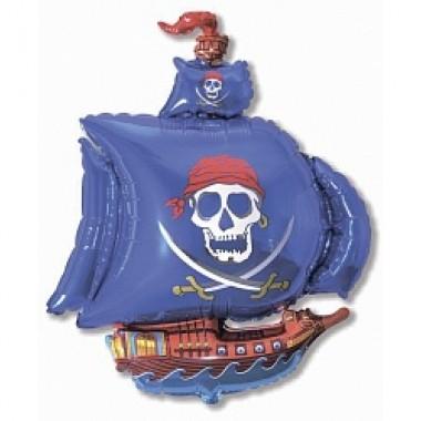 """Шар с гелием (104 см) """"Пиратский корабль, синий"""""""