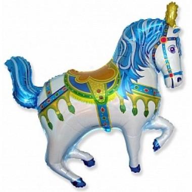 """Шар с гелием (99 см) """"Лошадь ярмарочная, синяя"""""""