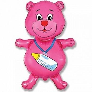 """Шар с гелием (91 см) """"Медвежонок-девочка, розовый"""""""