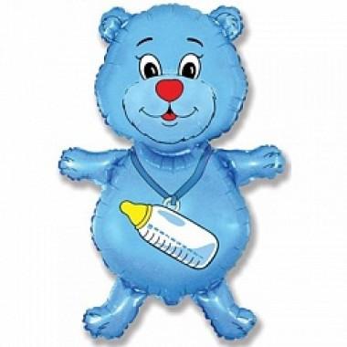 """Шар с гелием (91 см) """"Медвежонок-мальчик, синий"""""""
