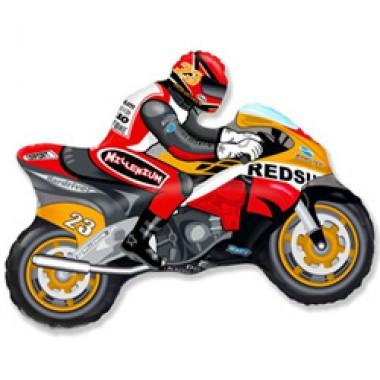 """Шар с гелием (84 см) """"мотоцикл оранжевый"""""""