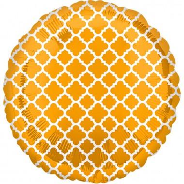"""Круг Узор на золоте 18"""" (48 см) (Gold & White Quatrefoil S30)"""