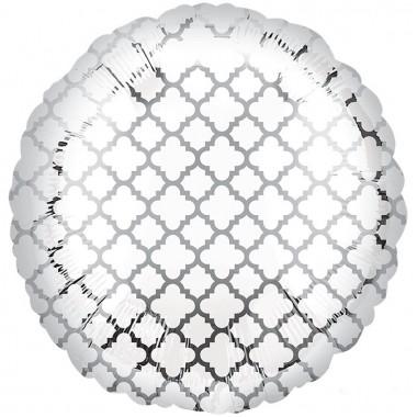 """Круг Узор на серебре 18"""" (48 см) (White & Silver Quatrefoil S30)"""
