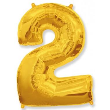 """Цифра """"2"""" (102 см) золото"""