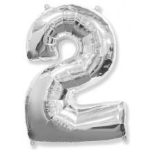 "Цифра ""2"" (102 см) серебро"
