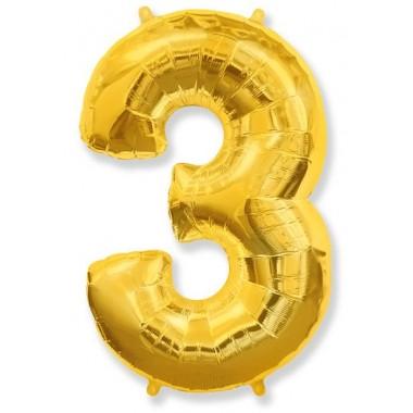 """Цифра """"3"""" (102 см) золото"""