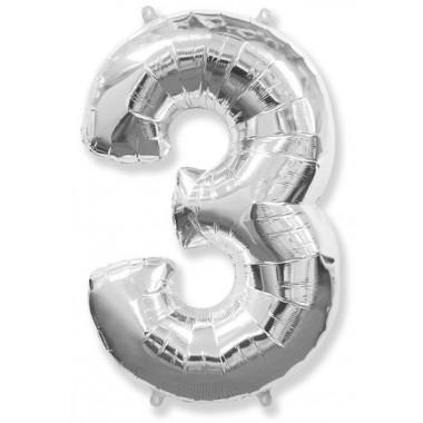 "Цифра ""3"" (102 см) серебро"