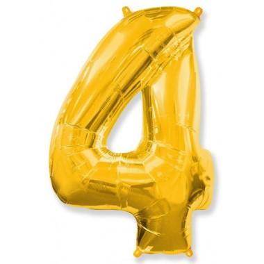 """Цифра """"4"""" (102 см) золото"""