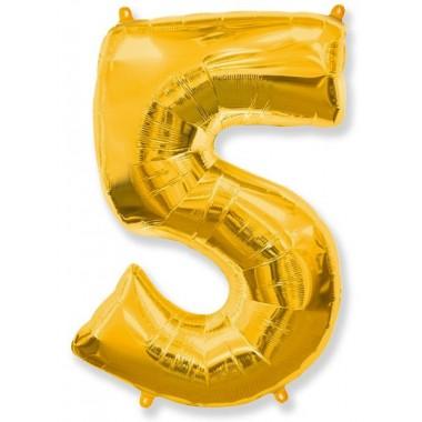 """Цифра """"5"""" (102 см) золото"""