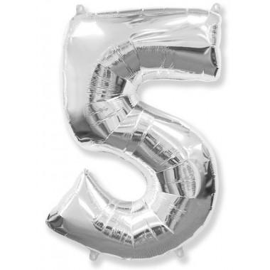 "Цифра ""5"" (102 см) серебро"