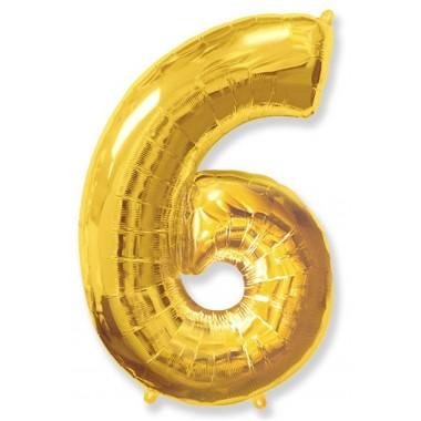 """Цифра """"6"""" (102 см) золото"""