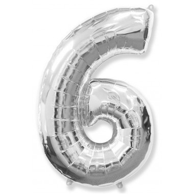 "Цифра ""6"" (102 см) серебро"