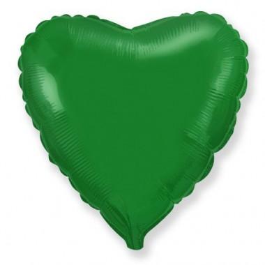 """Сердце Зелёный 18"""" (48 см) (Heart Green Flex Metal)"""