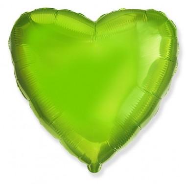 "Сердце Лайм 18"" (48 см) (Heart Green Lime Flex Metal)"