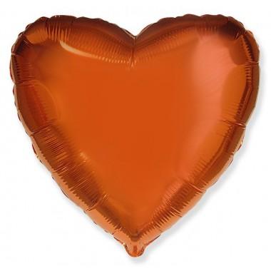 """Сердце Оранжевый 18"""" (48 см) (Heart Orange Flex Metal)"""