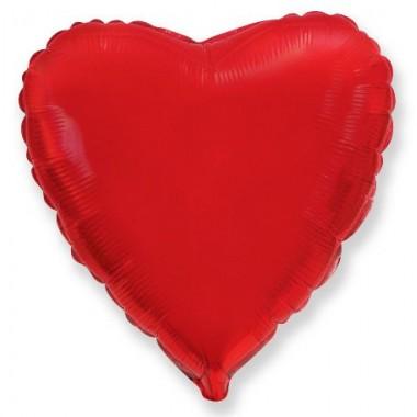 """Сердце Красный 18"""" (48 см) (Heart Red Flex Metal)"""