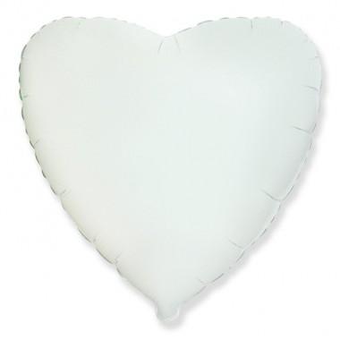 "Сердце Белый 18"" (48 см) (Heart White Flex Metal)"