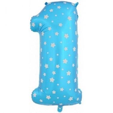 Фольгированный шар 1 голубого цвета с гелием